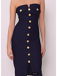 cheap -Women's Going out Slim Sheath Dress - Solid Colored High Waist Mini Strapless