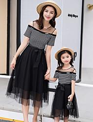 Недорогие -Мама и я Классический Повседневные Полоски Сетка С короткими рукавами Полиэстер Платье Черный