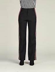 abordables -Mujer Delgado Chinos / Pantalones de Deporte Pantalones - Un Color / A Rayas / Otoño / Invierno