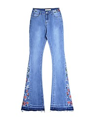 cheap -Women's Jeans Pants - Floral Embroidered