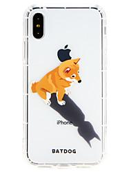 Недорогие -Кейс для Назначение Apple iPhone X / iPhone 8 Ультратонкий Кейс на заднюю панель С собакой Мягкий ТПУ для iPhone X / iPhone 8 Pluss / iPhone 8
