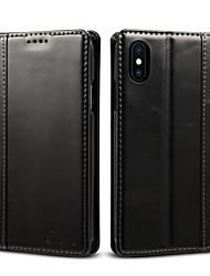 Недорогие -Кейс для Назначение Apple iPhone XS / iPhone XR / iPhone XS Max Бумажник для карт / Флип Чехол Однотонный Твердый Настоящая кожа
