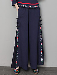 cheap -Women's Chinoiserie Wide Leg Pants - Floral Embroidered