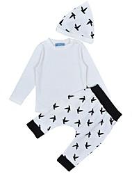 Недорогие -малыш Мальчики Черный и серый С принтом Длинный рукав Набор одежды
