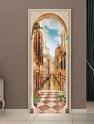 Недорогие -Дверные наклейки - 3D наклейки Пейзаж / Цветочные мотивы / ботанический Гостиная / Спальня