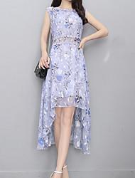 Недорогие -Жен. Уличный стиль / Изысканный Оболочка Платье - Цветочный принт, С принтом Ассиметричное