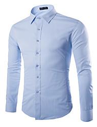 Недорогие -Муж. Офис Рубашка Хлопок Однотонный / Пожалуйста, выбирайте изделие на размер больше вашего обычного размера / Длинный рукав