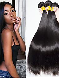 Недорогие -3 Связки Бразильские волосы Прямой 8A Натуральные волосы Человека ткет Волосы Накладки из натуральных волос 8-28 дюймовый Естественный цвет Ткет человеческих волос Без шапочки-основы