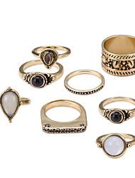 baratos -Casal Safira Corda Anel de banda / Conjuntos de anéis - Imitação de Pérola, Liga Boêmio, Rococó, Barroco Dourado Para Festa / Halloween