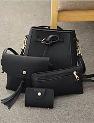 baratos -Mulheres Bolsas PU Conjuntos de saco Conjunto de bolsa de 4 pcs Botões Rosa / Cinzento / Vinho
