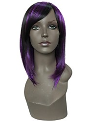 cheap -Synthetic Wig Straight Layered Haircut / Asymmetrical Haircut Synthetic Hair Party / Women / Synthetic Black Wig Women's Long Capless
