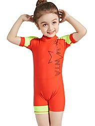 cheap -Girls' Rash Guard Dive Skin Suit UV Sun Protection, Quick Dry, UPF50+ Nylon / Spandex Short Sleeve Swimwear Beach Wear Diving Suit / Sun Shirt Patchwork Back Zip Swimming / Snorkeling / Water Sports