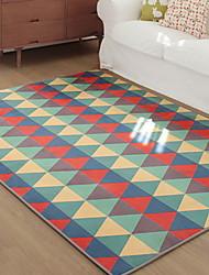 baratos -Os tapetes da área Forma Geométrica / Modern Poliéster, Rectângular Qualidade superior Tapete