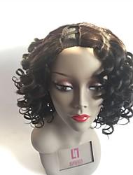 cheap -Remy Human Hair U Part Wig Brazilian Hair Wavy Wig Layered Haircut 180% Natural Hairline / For Black Women Black Women's Mid Length Human Hair Lace Wig