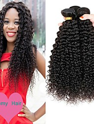 cheap -3 Bundles Indian Hair Curly Human Hair Natural Color Hair Weaves / Human Hair Extensions 8-28 inch Human Hair Weaves Machine Made Best Quality / New Arrival / Hot Sale Natural Color Human Hair