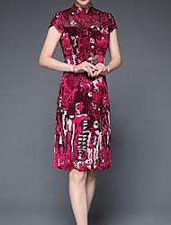 levne -Dámské Základní Bodycon Šaty - Jednobarevné Délka ke kolenům