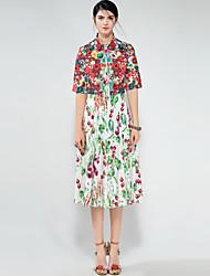 abordables -Mujer Activo / Tejido Oriental Conjunto - Floral, Estampado Vestidos