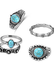 baratos -Mulheres Turquesa Oco Empilhável Conjuntos de anéis Conjunto de anéis - Liga Na moda, Roma antiga, Mariner Prata Para Cerimônia Encontro / 5pçs