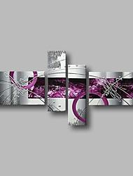Недорогие -Hang-роспись маслом Ручная роспись - Абстракция Пейзаж Современный Включите внутренний каркас / 4 панели / Растянутый холст