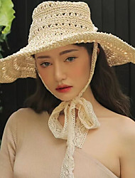 cheap -Women's Basic / Holiday Straw Hat - Solid Colored / Summer
