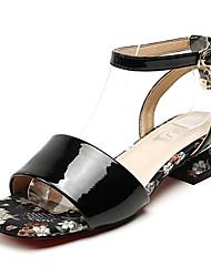 baratos -Mulheres Sapatos Couro Ecológico Primavera Verão Tira no Tornozelo Sandálias Salto Baixo Presilha Preto / Amêndoa / Azul Real