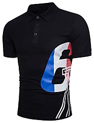 cheap -Men's Business Polo - Solid Colored / Color Block / Letter Print
