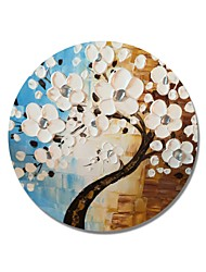 cheap -STYLEDECOR Modern Hand Painted Abstract Circular Frame Blue and Brown Background with Silvery Pistil White