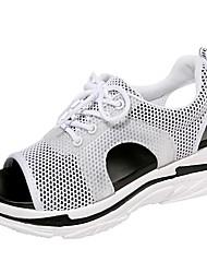 Недорогие -Жен. Обувь Сетка Лето Удобная обувь Сандалии Микропоры Открытый мыс Черный / Светло-серый