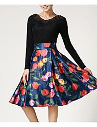 abordables -Mujer Básico / Tejido Oriental Línea A / Columpio Faldas Floral