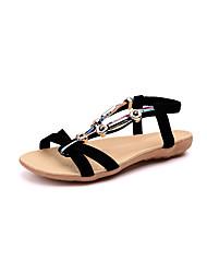 abordables -Mujer Zapatos Ante / Piel de Oveja Verano Confort Sandalias Tacón Plano Puntera abierta Cuentas Negro / Beige / Rojo