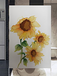 cheap -Window Film & Stickers Decoration Floral Floral PVC(PolyVinyl Chloride) Window Sticker