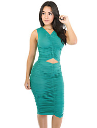 baratos -Mulheres Moda de Rua Tubinho / Bainha Vestido - Vazado / Franzido, Sólido Médio