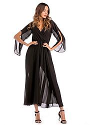 povoljno -ženske stranke odriješene šifon haljina midi v vrat