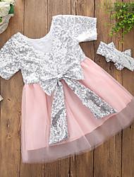 df3017f54ab4 Bambino (1-4 anni) Da ragazza Casual Feste   Quotidiano Collage Con  lustrini Manica corta Cotone   Poliestere Vestito Rosa   Romantico