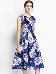 お買い得  -女性用 ヴィンテージ / ストリートファッション Aライン ドレス - プリント, フラワー ミディ