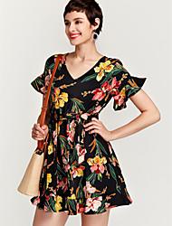 abordables -Femme Chic de Rue Manche Papillon Mince Mousseline de Soie Robe - A Volants Imprimé, Fleur V Profond Au dessus du genou Noir