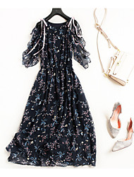 cheap -Miss French Women's Basic / Chinoiserie Flare Sleeve T Shirt / Swing Dress - Floral Bow / Ruffle / Lace up