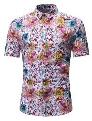Недорогие -Муж. С принтом Рубашка Классический Цветочный принт / Контрастных цветов маргаритка / Цветок солнца