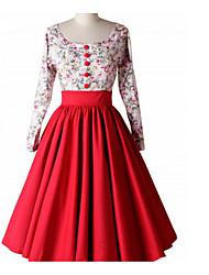 cheap -Women's Vintage / Basic Cotton Slim A Line Dress - Solid Colored / Floral Patchwork U Neck / Summer
