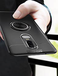 Недорогие -Кейс для Назначение OnePlus OnePlus 6 Кольца-держатели Кейс на заднюю панель Однотонный Мягкий ТПУ для OnePlus 6