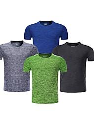 abordables -BARBOK Hombre Camiseta interior - Verde, Azul, Gris Deportes Un Color, Clásico Camiseta Yoga, Ejercicio y Fitness, Deportes Múltiples Manga Corta Ropa de Deporte Ligeras, Secado rápido