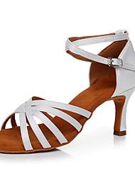 baratos -Mulheres Sapatos de Dança Latina Cetim Têni Salto Alto Magro Personalizável Sapatos de Dança Branco