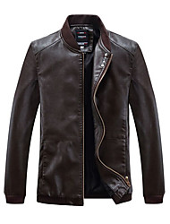 cheap -Men's Sports Vintage Leather Jacket - Solid Colored / Long Sleeve