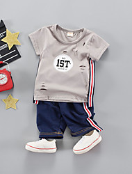 cheap -Baby Unisex Black & White Solid Colored Short Sleeve Clothing Set