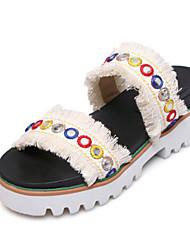 baratos -Mulheres Sapatos Tricô / Couro Ecológico Primavera Verão Conforto Sandálias Salto Baixo Dedo Aberto Presilha Azul / Rosa claro / Rosa Claro