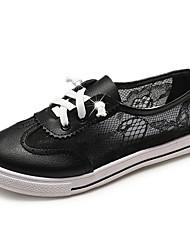 お買い得  -女性用 靴 PUレザー 春夏 コンフォートシューズ スニーカー フラットヒール ラウンドトウ ホワイト / ブラック