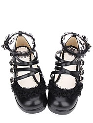 cheap -Sweet Lolita Dress Classic Lolita Dress Creepers Shoes Solid Colored 3 cm CM Black For PU(Polyurethane) Halloween Costumes