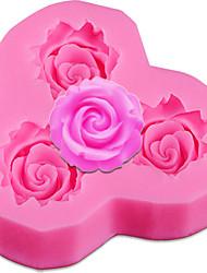 Недорогие -3 отверстия розовые цветки силиконовые формы торта fondant конфеты плесень