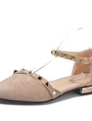 お買い得  -女性用 靴 PUレザー 春夏 オルセー&ツーピース ヒール ローヒール ポインテッドトゥ ブラック / アーモンド