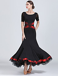 cheap -Ballroom Dance Dresses Women's Training / Performance Tulle / Georgette / Milk Fiber Draping / Criss Cross High Dress